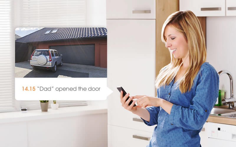 woman opening garage remotely with ismartgate app
