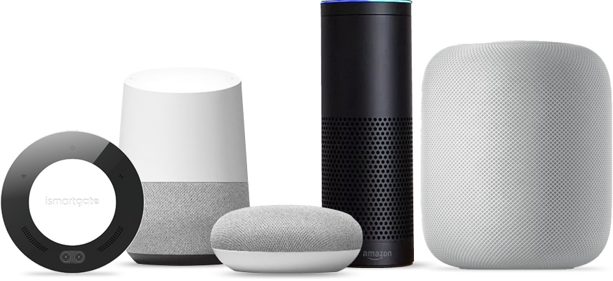ismartgate compatible smart home devices homekit, google assistant, amazon alexa, and IFTTT
